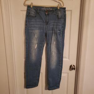 Light wash distressed skinny jeans